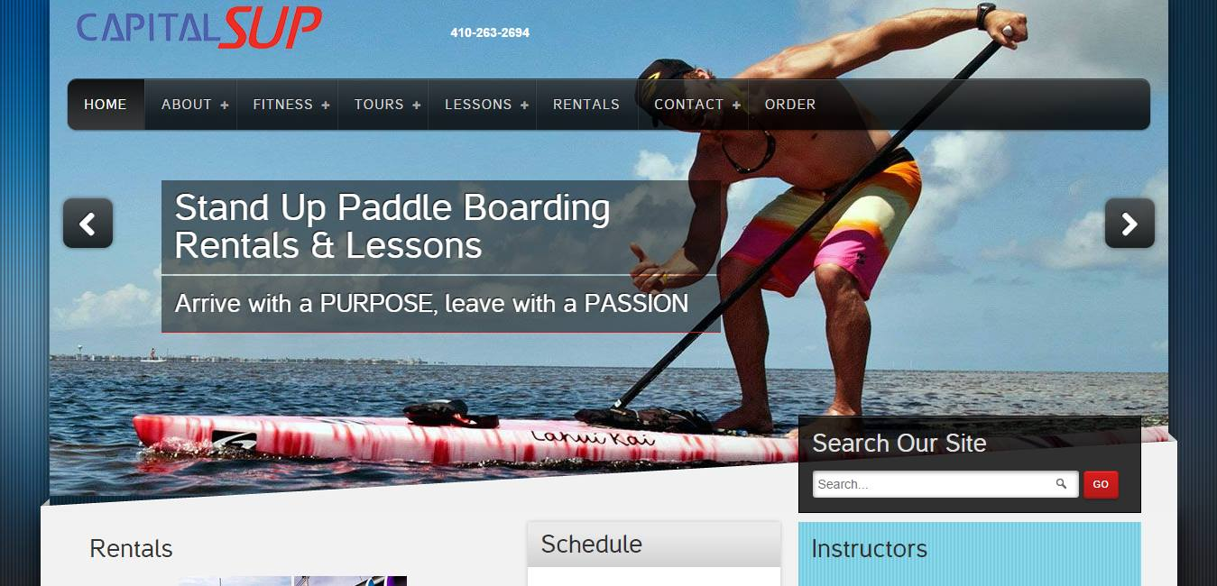 Capital Stand Up Paddle Boarding Web Site Design