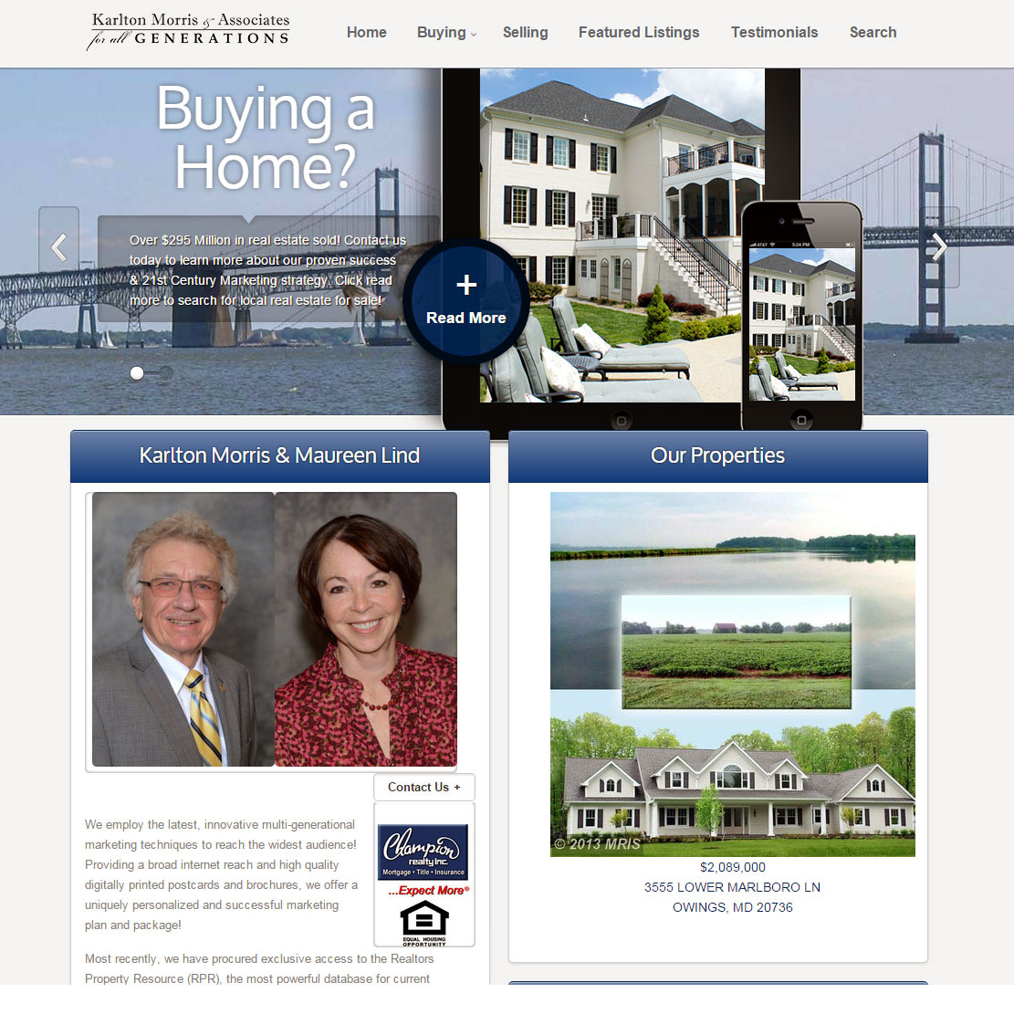 Karlton Morris & Associates Real Estate Website Design, Annapolis, Maryland